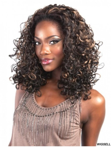 Kinky Brazilian Remy Hair Brown Shoulder Length No-Fuss 3/4 Wigs