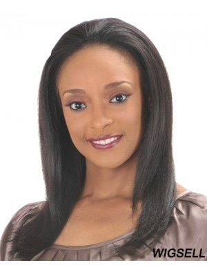 Straight Indian Remy Hair Black Long Comfortable 3/4 Wigs