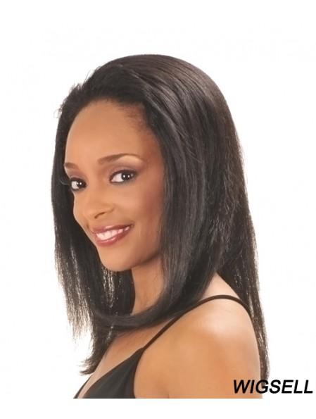 Capless Black Straight Long Indian Remy Human Hair Half Wig
