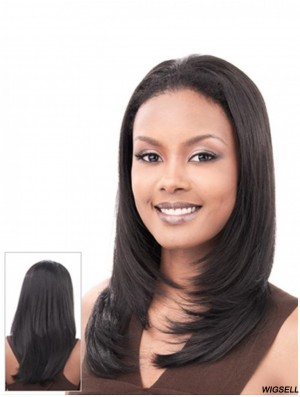 Straight Indian Remy Hair Black Long Hairstyles 3/4 Wigs