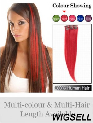 Fashionable Red Straight Remy Human Hair Clip In Hair Extensions