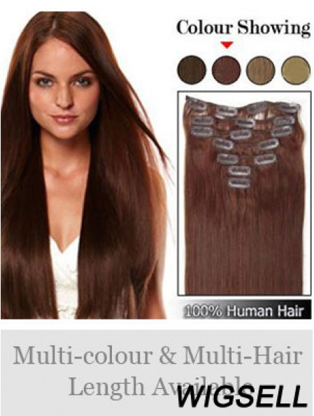 Hairstyles Auburn Straight Remy Human Hair Clip In Hair Extensions