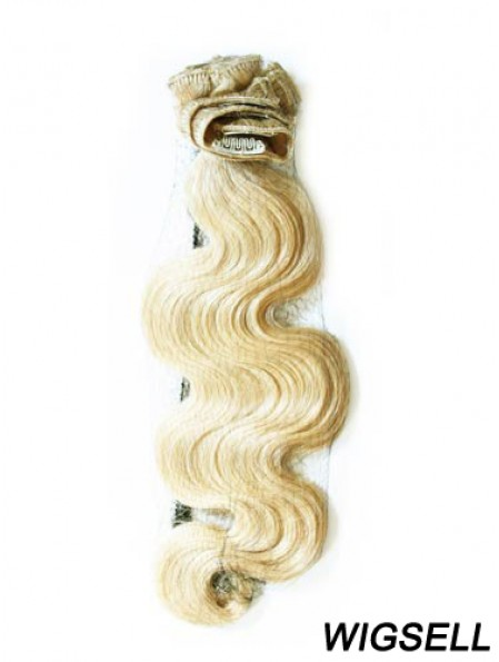 Stylish Blonde Wavy Remy Human Hair Clip In Hair Extensions