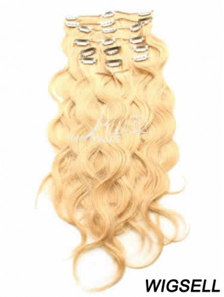 Ideal Blonde Curly Remy Human Hair Clip In Hair Extensions