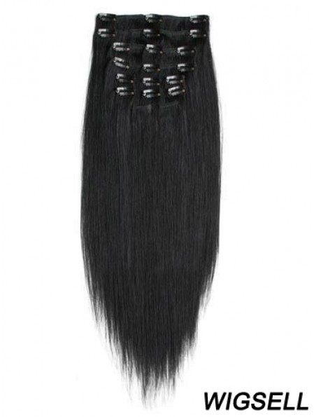 No-Fuss Black Straight Remy Human Hair Clip In Hair Extensions
