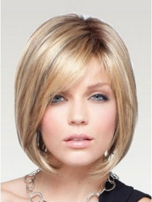 Chin Length Bob Wig Monofilament Blonde Wig Human Hair Straight Wig