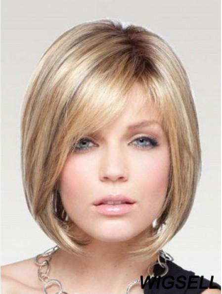 Chin Length Bob Wig Monofilament Blonde Wig Human Hair Straight Wig