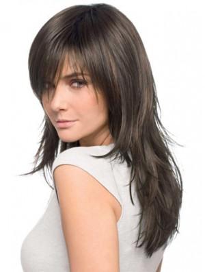 Long Wigs Layered Cut Human Hair Wigs UK Brown Hair 20 Inch