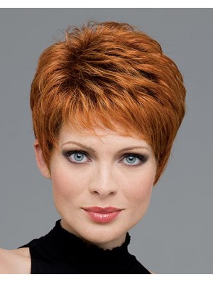 Women Short Wig Pixie Human Hair Wig Short Capless Wig UK Auburn Color