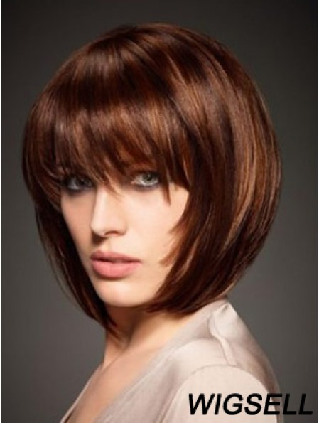 Auburn Bob Wig Human Hair Wig With Bangs Chin Length 10 Inch