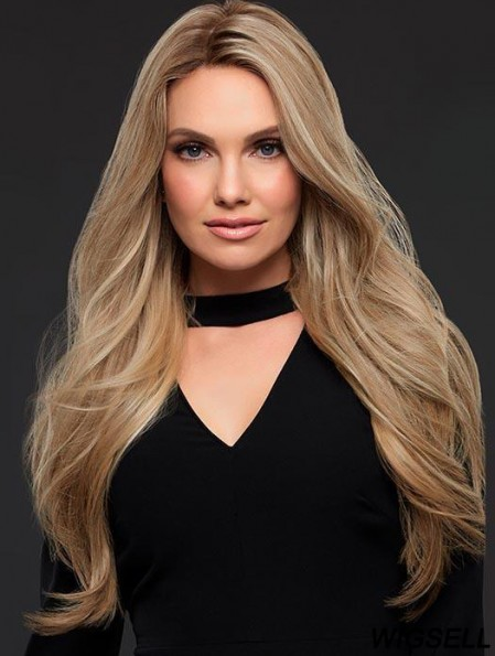 Long Blonde Wig Monofilament Human Hair Wavy Wig UK