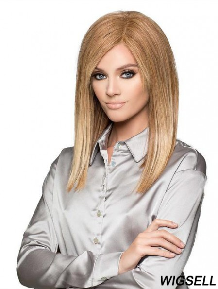 Blonde Straight Wig UK Human Hair Shoulder Length Wig For Women