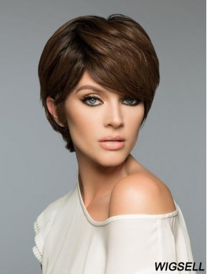 Brown Cropped Wig Human Hair Short Wig UK Natural