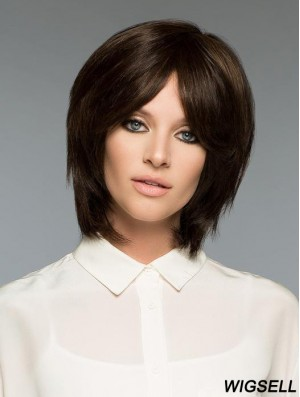 Brown Bob Wig Human Hair Straight Wig UK For Women Realistic