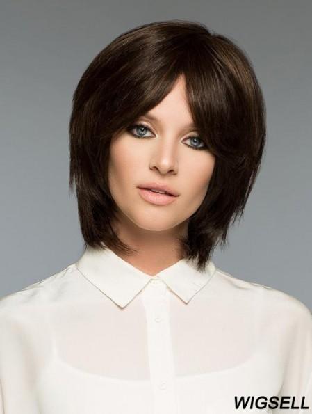 Brown Bob Wig Human Hair Straight Wig UK For Women Realistic