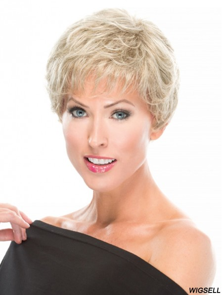 Blonde Wig Hand Tied Short Wig Cropped Wavy Synthetic Wig