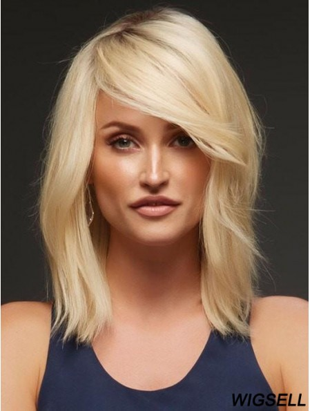 Human Hair Blonde Wig Lace Front Wig Shoulder Length 14 Inch