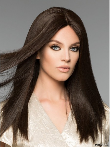 Long Auburn Wig Straight Human Hair Wig Without Bangs Hand Tied Wig UK