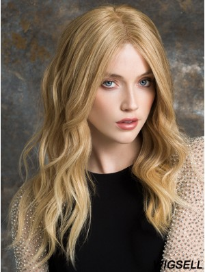 100% Hand Tied Wig Long Blonde Human Hair Wig UK