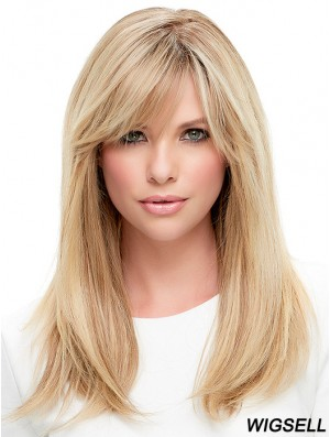 Ladies Wigs Cheap 100% Hand Tied With Bangs Straight Style