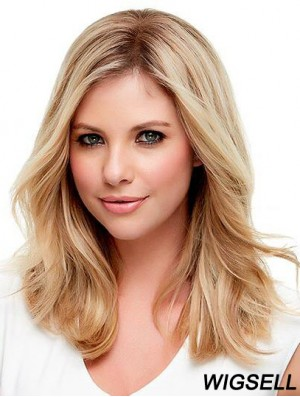 Blonde Shoulder Length Wig Monofilament Human Hair Wig Wavy Wig