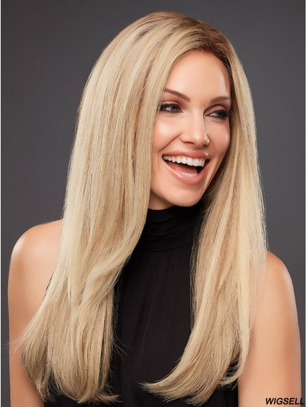 Platinum Blonde Without Bangs Straight 18 inch Human Hair Wig