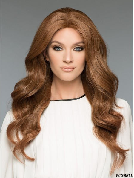 20 inch Long 100% Hand-tied Brown Natural Looking Wigs