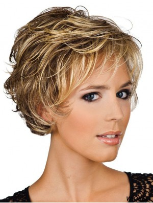 Wavy Wig Short Layered Hair in Human Hair Blonde Color