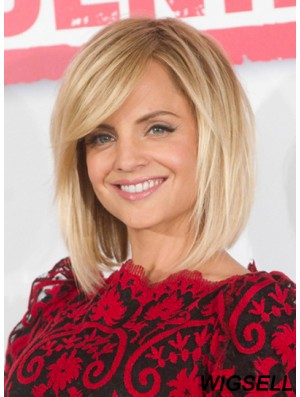 Blonde Human Hair Lace Wig Mena Suvari Wig Straight Chin Length Wig UK