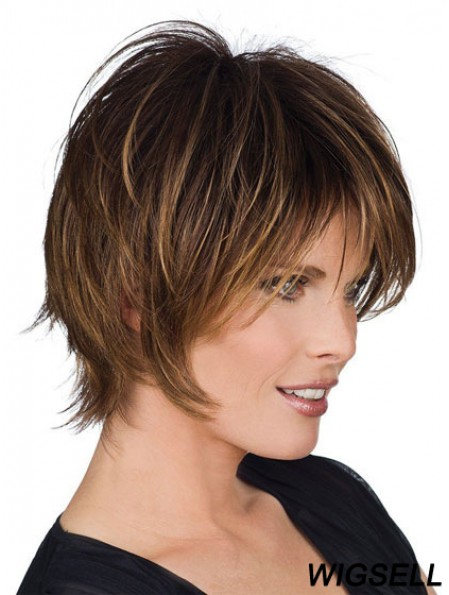 Layered Short Wig Remy Human Hair Brown Wig Capless Wigs UK