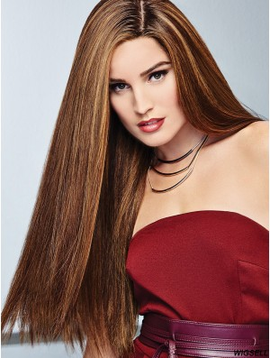24 inch Long 100% Hand-tied Brown Natural Hair Wig