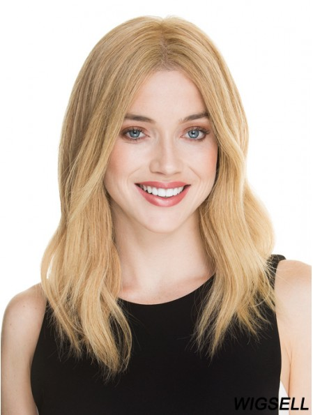 Blonde Human Hair Wig Shoulder Length  Lace Front Monofilament Wigs