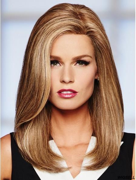 16 inch Long Monofilament Blonde Full Human Hair Wigs