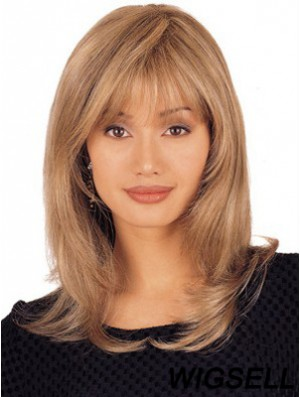 Long Blonde Human Hair Wig 100% Hand-tied Lace Layered Cut Straight Wig UK Online