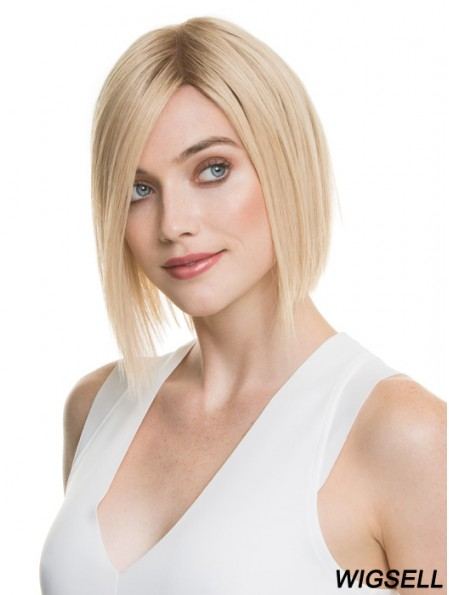 Wigs Bobs 100% Hand Tied Blonde Color Chin Length Straight Style