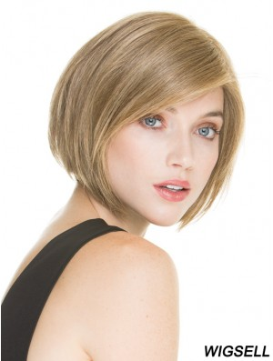 Short Blonde Bob Wig 100% Hand Tied Straight Style Chin Length