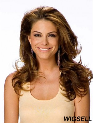 Long Wig Brown Wavy Monofilament Top Lace Wig Remy Human Hair For Women