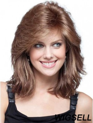 Medium Length Wig For Round Faces Wavy Wig With Fringe Remy Human Hair