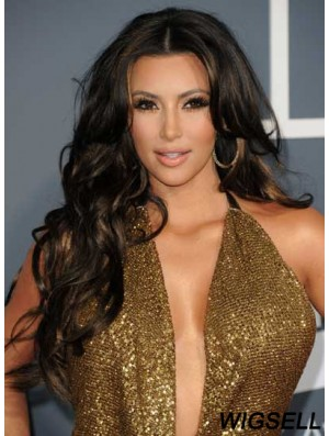 Kim Kardashian Wigs Remy Human Lace Front Black Color Curly Style