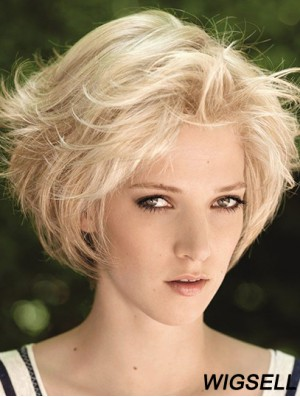 Natural Straight Remy Human Hair Lace Front Wig Blonde Color