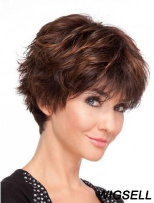 Remy Human Layered Short Wavy Monofilament Human Hair Wigs UK