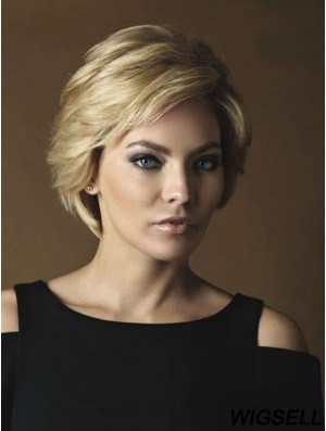 Ladies Real Hair Wigs With Monofilament Short Length Wavy Style