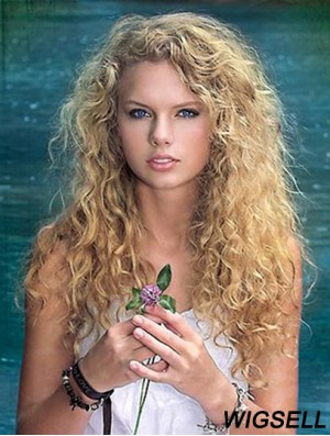 Taylor Swift Wigs Hand Tied  Mono Top Long Curly Hair 20 Inch