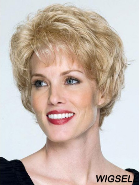 Classic Cap Wigs Remy Human Blonde Color Wavy Style Short Length