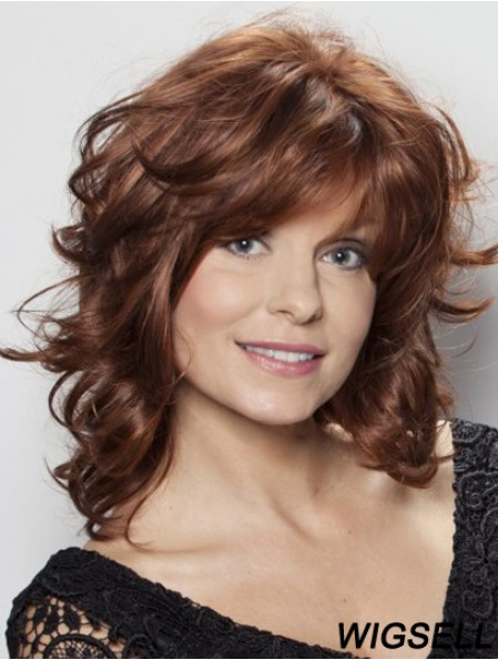 Wavy Human Hair Wigs With Lace Front Shoulder Length Layered Cut