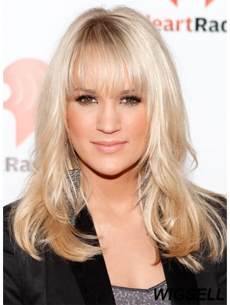 Carrie Underwood Wigs With Cangs Lace Front Shoulder Length Blonde Color