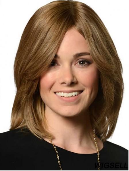 Wavy Human Hair Shoulder Length Blonde Color Layered Cut