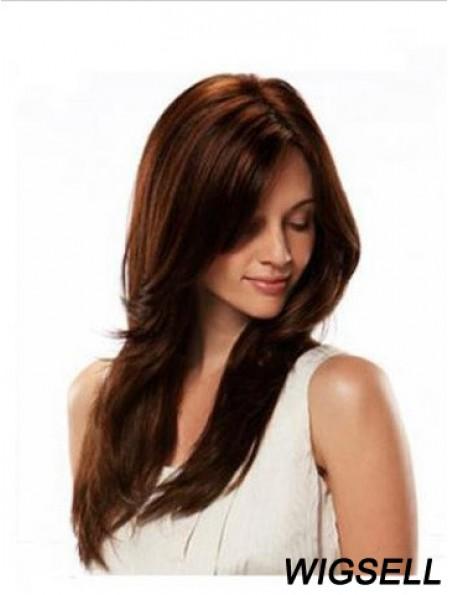 Human Hair Wigs Full Wig Long Length Straight Style Auburn Color