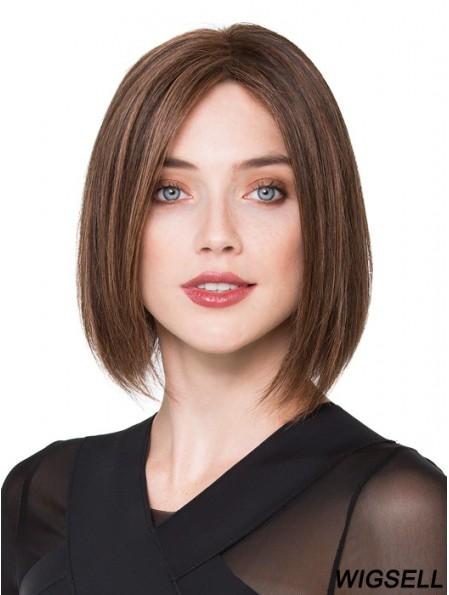 Bob Human Hair Wigs Brown Color Chin Length Bobs Cut