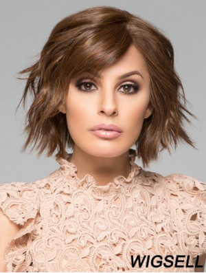 "Curly Chin Length Brown 10"" 100% Hand-tied Natural Bob Wigs"